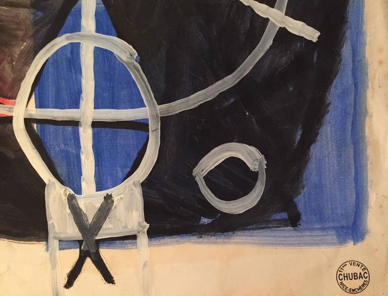 Albert Chubac, Gouache and Oil, Signed, circa 1960, France In Good Condition For Sale In Nice, Cote d' Azur
