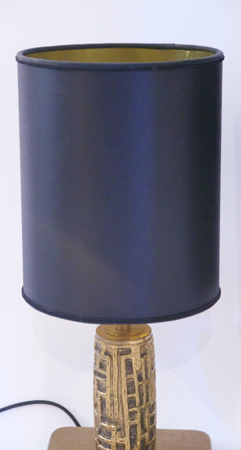 Luciano Frigerio, pair of table lamps,  bronze, Frigerio di Desio production, signed under the base, circa 1970, Italy. Measures: Height 46 cm, diameter 21 cm.