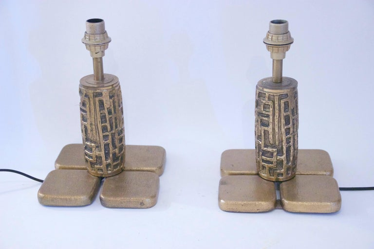 Mid-Century Modern Luciano Frigerio, Pair of Table Lamps, Bronze, Frigerio di Desio Production For Sale