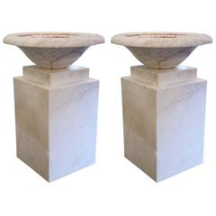 Set of Four of Decorative Columns, White Marble Veined Cubic, circa 1960, France