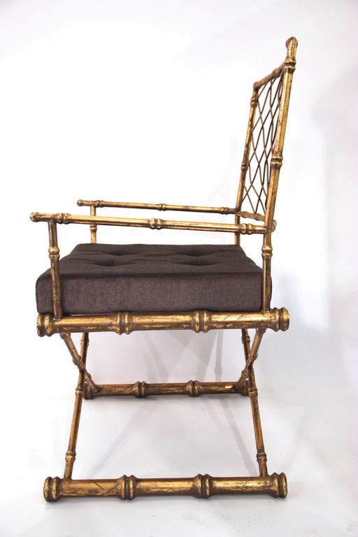 Pair of Armchairs, Antique Style, Gilded Iron, circa 1970, France 2