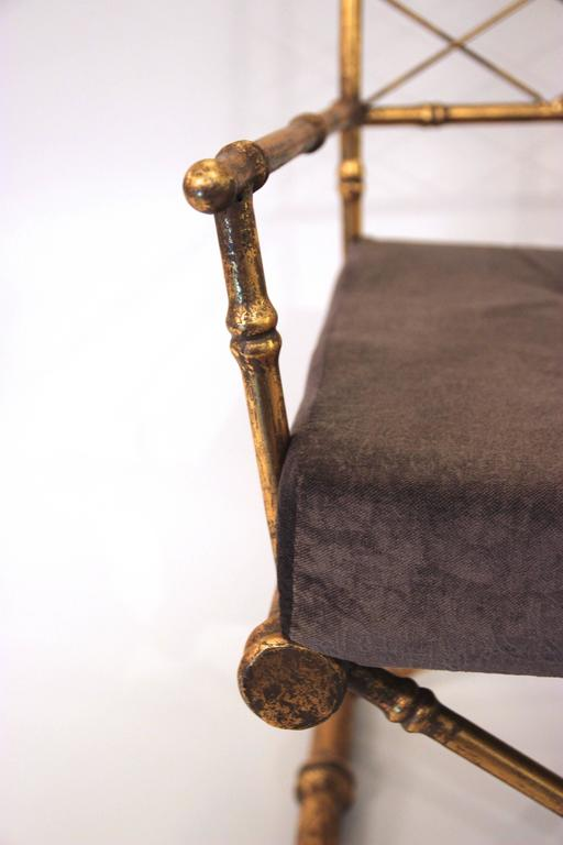 Pair of Armchairs, Antique Style, Gilded Iron, circa 1970, France 5