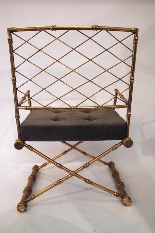 Pair of Armchairs, Antique Style, Gilded Iron, circa 1970, France 3
