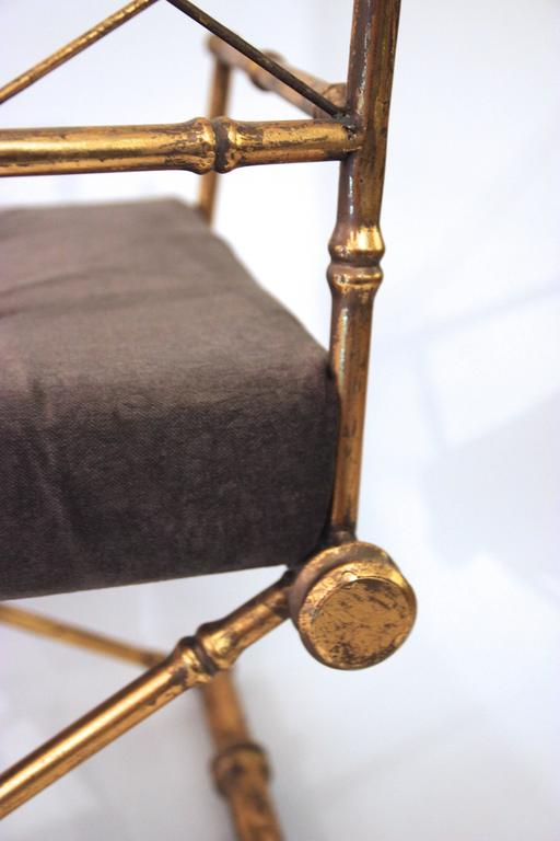 Pair of Armchairs, Antique Style, Gilded Iron, circa 1970, France 8