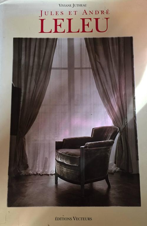 Jules et andr leleu set of four chairs leather silk for Salon leleu
