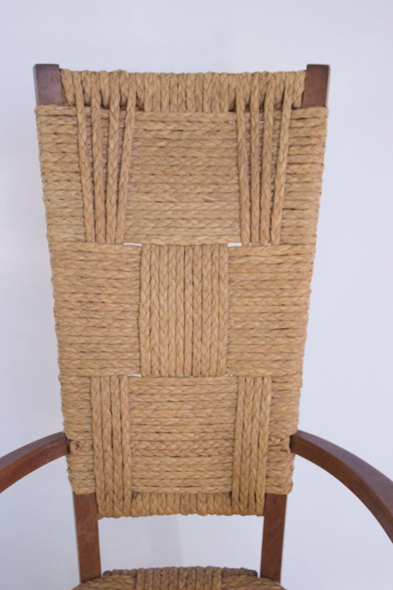 Audoux-Minet, Suite of Four Armchairs, Rattan and Wood, circa 1970, France 2