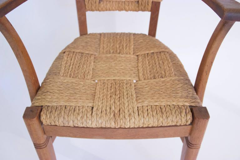 Mid-Century Modern Audoux-Minet, Suite of Four Armchairs, Rattan and Wood, circa 1970, France For Sale