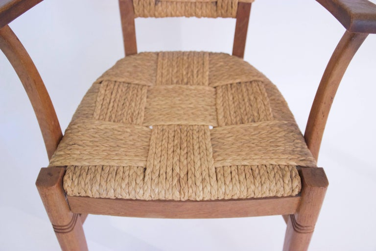 Audoux-Minet, Suite of Four Armchairs, Rattan and Wood, circa 1970, France 3