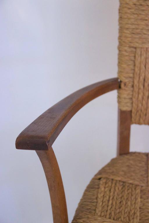 French Audoux-Minet, Suite of Four Armchairs, Rattan and Wood, circa 1970, France For Sale