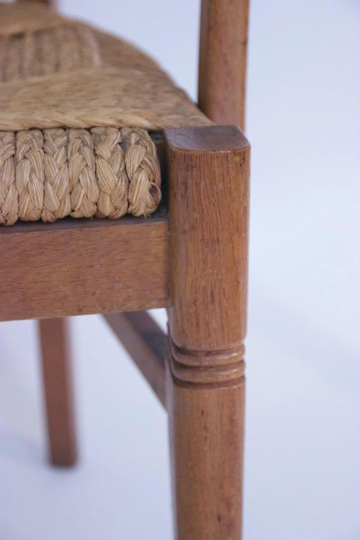 Audoux-Minet, Suite of Four Armchairs, Rattan and Wood, circa 1970, France In Good Condition For Sale In Nice, Cote d' Azur