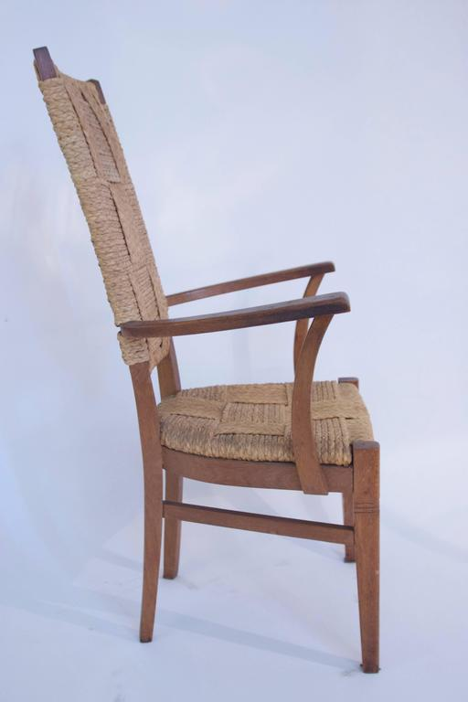 Late 20th Century Audoux-Minet, Suite of Four Armchairs, Rattan and Wood, circa 1970, France For Sale