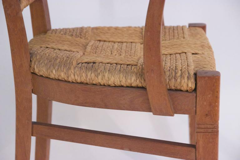 Audoux-Minet, Suite of Four Armchairs, Rattan and Wood, circa 1970, France For Sale 1