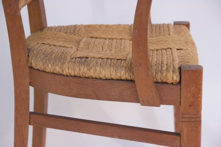 Audoux-Minet, Suite of Four Armchairs, Rattan and Wood, circa 1970, France 7