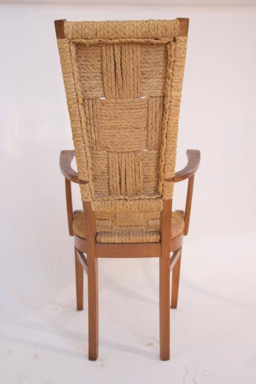 Audoux-Minet, Suite of Four Armchairs, Rattan and Wood, circa 1970, France For Sale 2