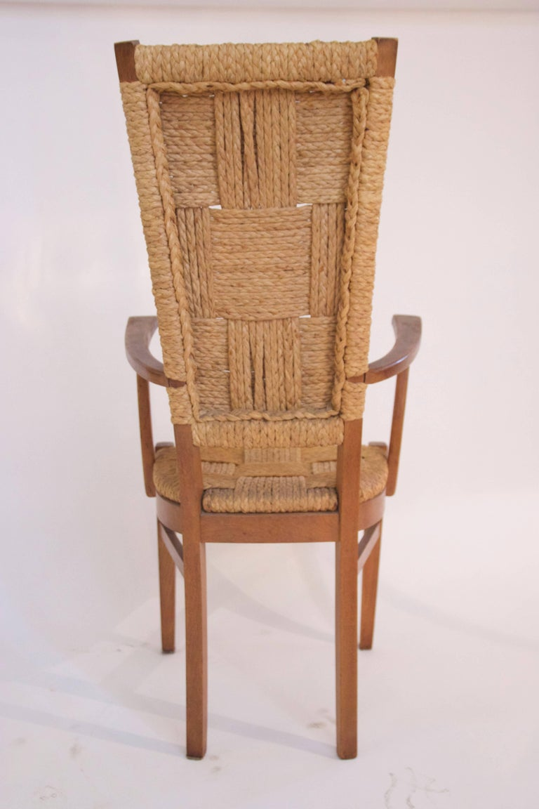 Audoux-Minet, Suite of Four Armchairs, Rattan and Wood, circa 1970, France 8
