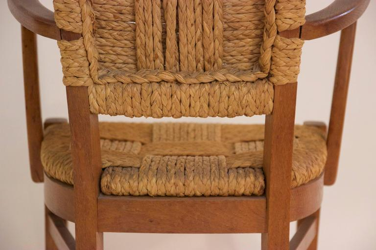 Audoux-Minet, Suite of Four Armchairs, Rattan and Wood, circa 1970, France For Sale 3