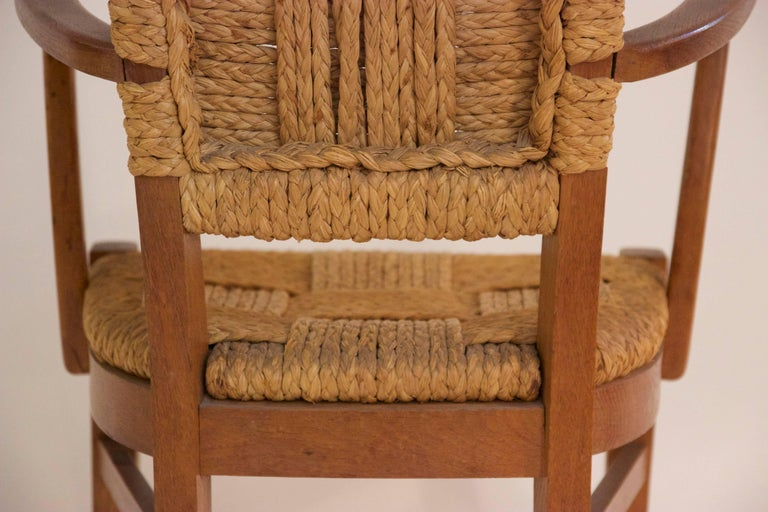 Audoux-Minet, Suite of Four Armchairs, Rattan and Wood, circa 1970, France 9