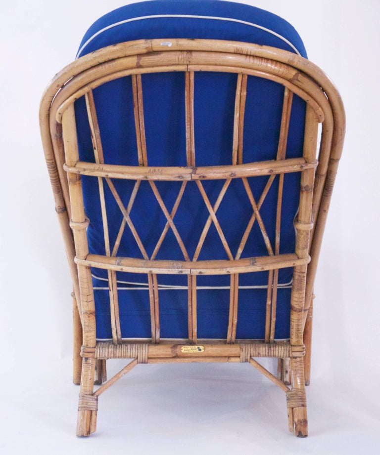 Mid-Century Modern Audoux-Minet, Suite of Four Armchairs, Rattan, circa 1960, France For Sale