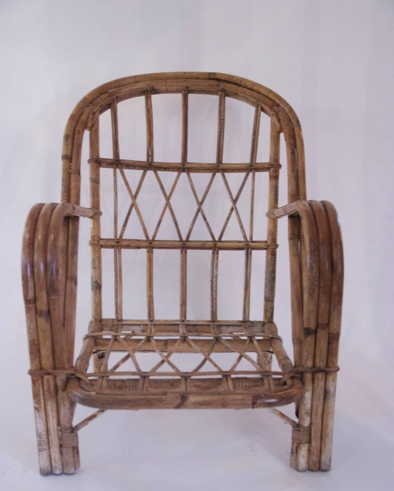 Audoux-Minet, Suite of Four Armchairs, Rattan, circa 1960, France In Good Condition For Sale In Nice, Cote d' Azur