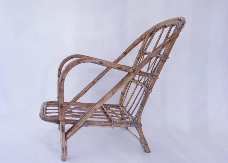 Late 20th Century Audoux-Minet, Suite of Four Armchairs, Rattan, circa 1960, France For Sale