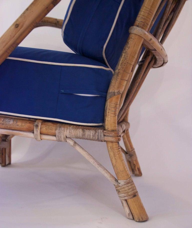 Audoux-Minet, Suite of Four Armchairs, Rattan, circa 1960, France For Sale 2