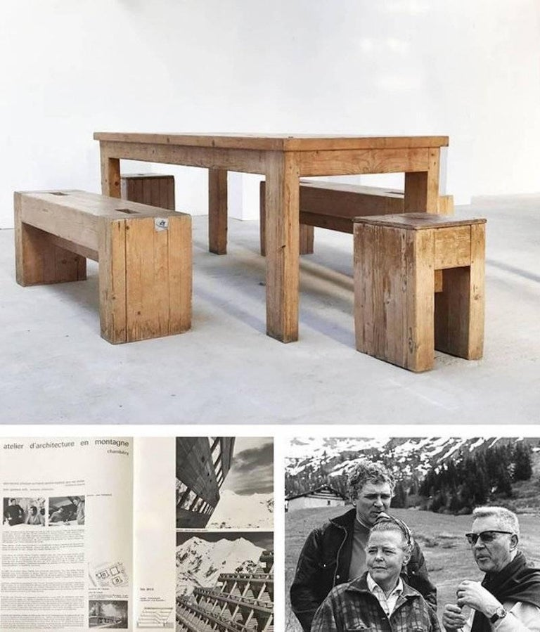 Jean Prouvé with Guy Rey-Millet, Dining Room Table, Wood, Refuge de la Vanoise For Sale 3