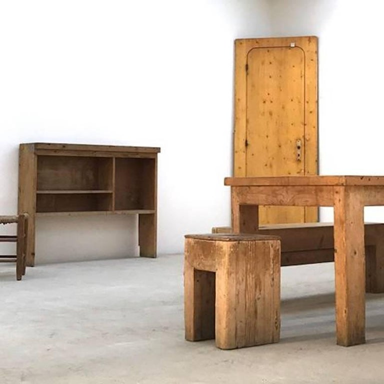 Jean Prouvé with Guy Rey-Millet, Dining Room Table, Wood, Refuge de la Vanoise For Sale 1