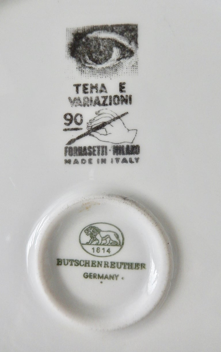 Midcentury Fornasetti Face Plate, Tema e Variazione N90 For Sale 1