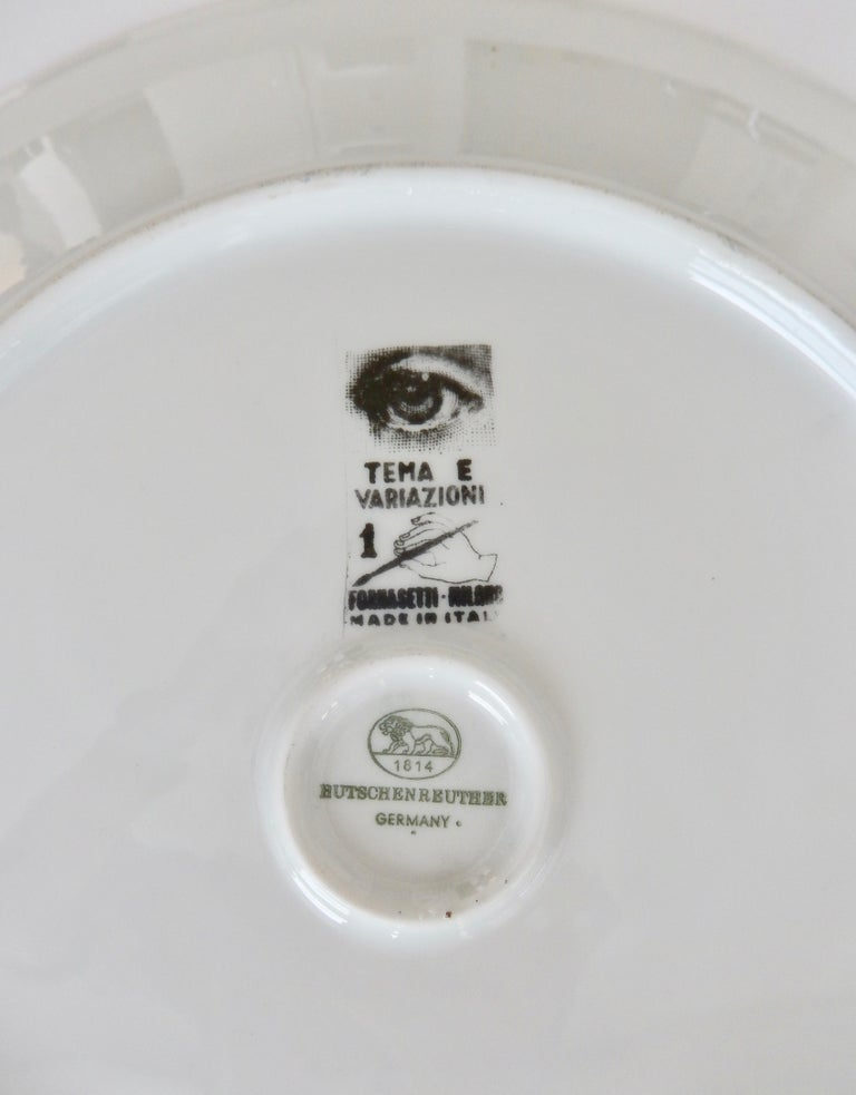Porcelain Midcentury Fornasetti Iconic Face Plate, Tema e Variazoni N1 For Sale