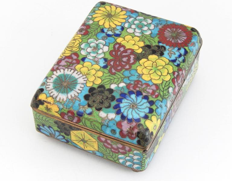 Japanese Vintage Cloisonné Cigarette Box and Match Holder with Floral Motif For Sale