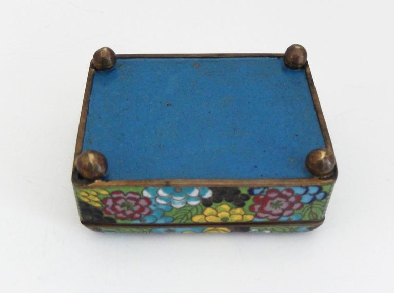 20th Century Vintage Cloisonné Cigarette Box and Match Holder with Floral Motif For Sale