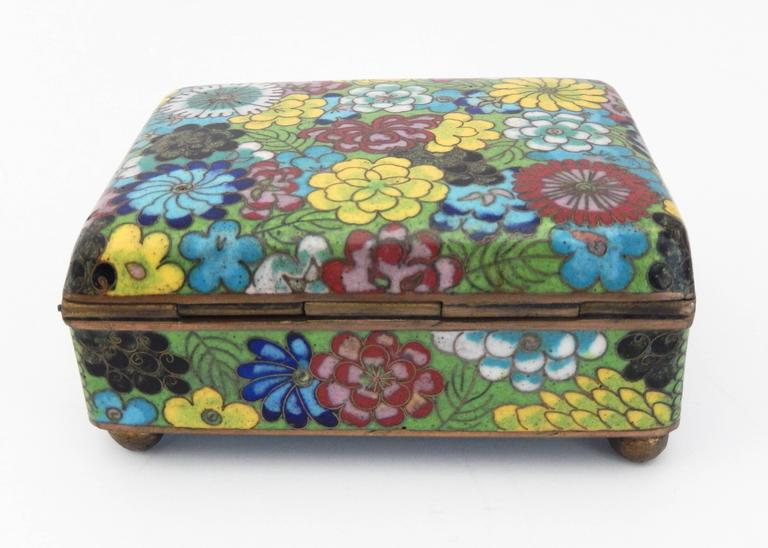 Cloissoné Vintage Cloisonné Cigarette Box and Match Holder with Floral Motif For Sale