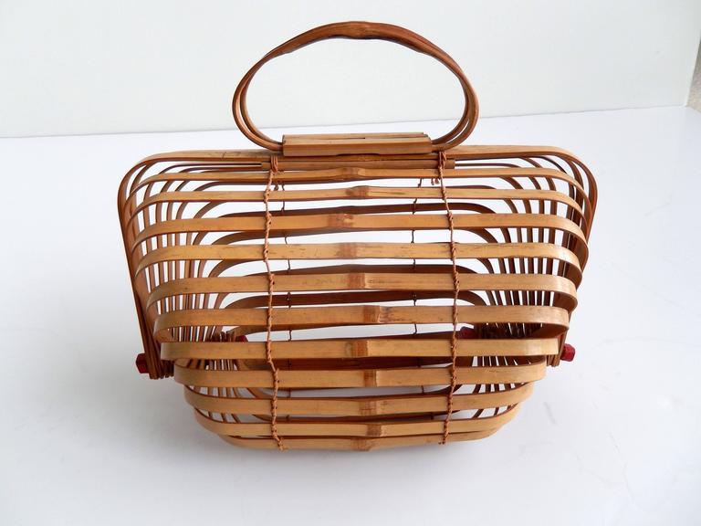Mid Century Japanese Folding Bamboo Bag Occupied Japan At 1stdibs