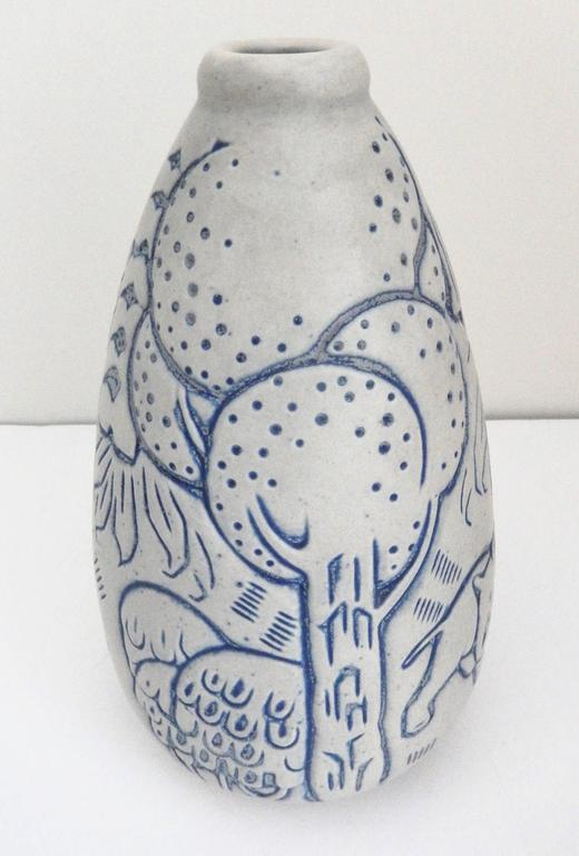 French Tall Art Deco Stoneware Vase by Andre Legrand for Les Freres Mougin, Nancy For Sale