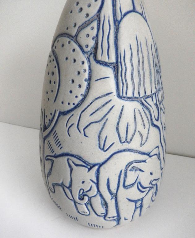 Glazed Tall Art Deco Stoneware Vase by Andre Legrand for Les Freres Mougin, Nancy For Sale
