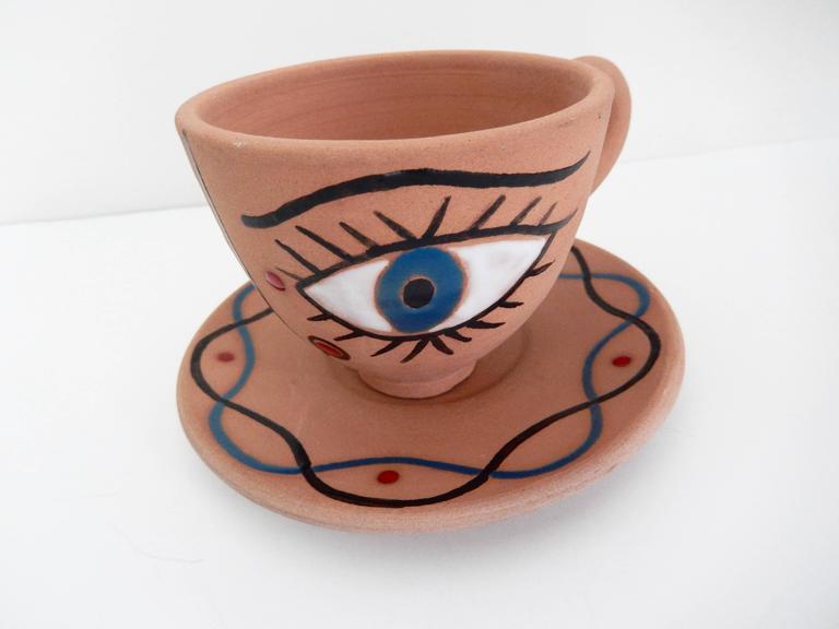 "Jean Cocteau, ""La Dame Etonnee,"" Terra Cotta Cup and Saucer, 1958 2"