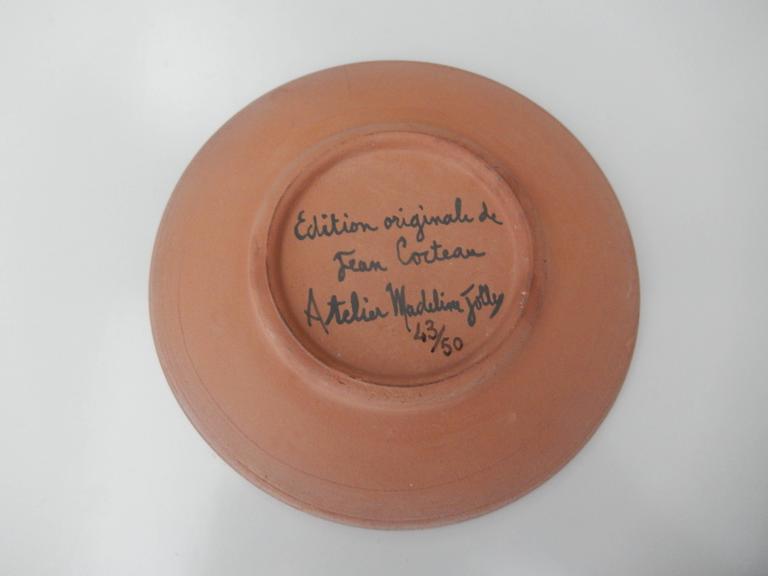 "Jean Cocteau, ""La Dame Etonnee,"" Terra Cotta Cup and Saucer, 1958 7"