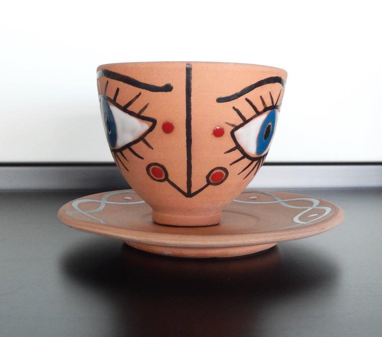 "Jean Cocteau, ""La Dame Etonnee,"" Terra Cotta Cup and Saucer, 1958 4"