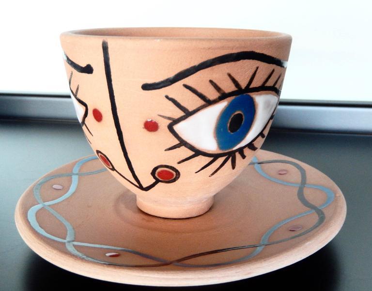 "Jean Cocteau, ""La Dame Etonnee,"" Terra Cotta Cup and Saucer, 1958 5"
