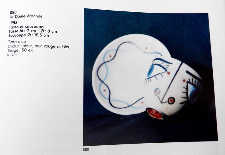 "Jean Cocteau, ""La Dame Etonnee,"" Terra Cotta Cup and Saucer, 1958 9"