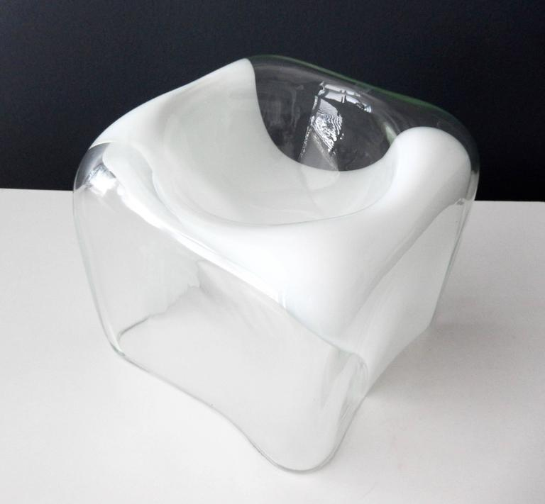 1970s Italian Glass Bowl with White Band by Carlo Nason for Mazzega 3