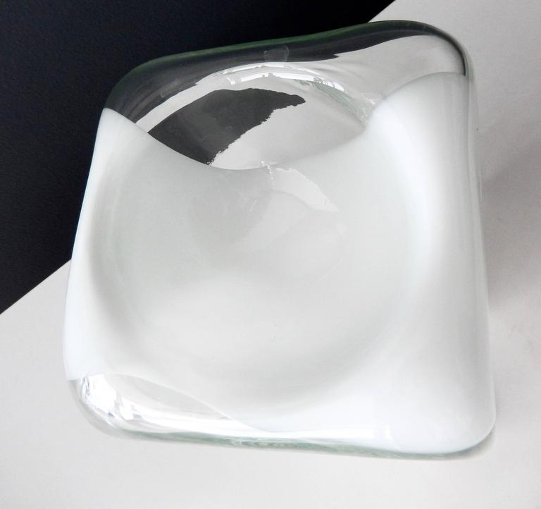 1970s Italian Glass Bowl with White Band by Carlo Nason for Mazzega 4