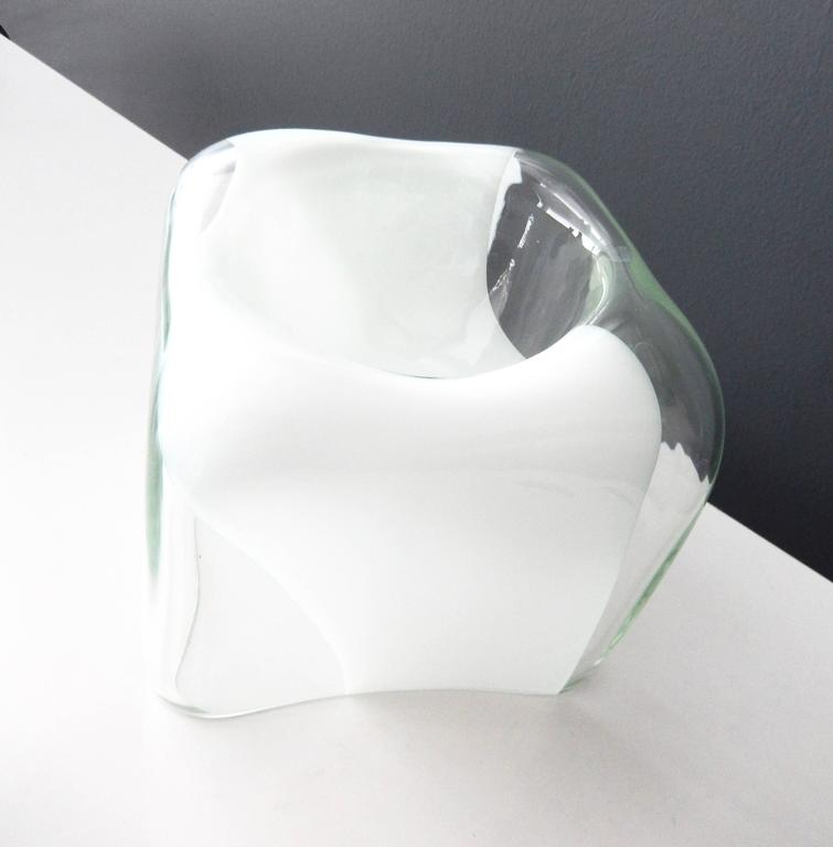 1970s Italian Glass Bowl with White Band by Carlo Nason for Mazzega 6