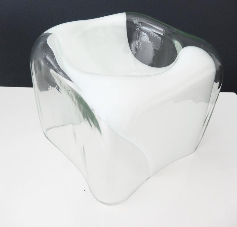 1970s Italian Glass Bowl with White Band by Carlo Nason for Mazzega 7