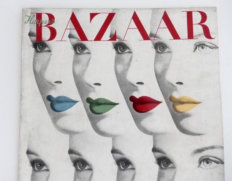 Herbert Bayer's iconic cover design of multiple faces for the August 1940 issue of Harper's Bazaar. This is the complete magazine. Scarce. An important addition to a collection of 20th century graphic design. Bayer's riveting illustration has
