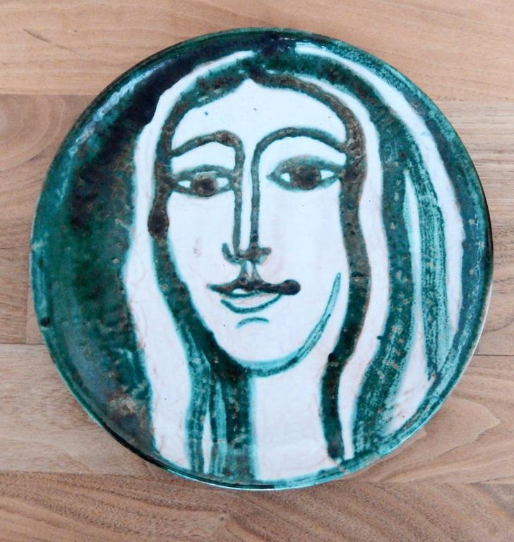 French Robert Picault Mid-Century Modern Ceramic Plate, Vallauris For Sale