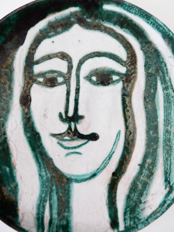 Glazed Robert Picault Mid-Century Modern Ceramic Plate, Vallauris For Sale