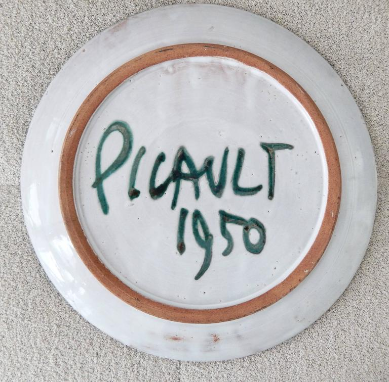 Mid-20th Century Robert Picault Mid-Century Modern Ceramic Plate, Vallauris For Sale