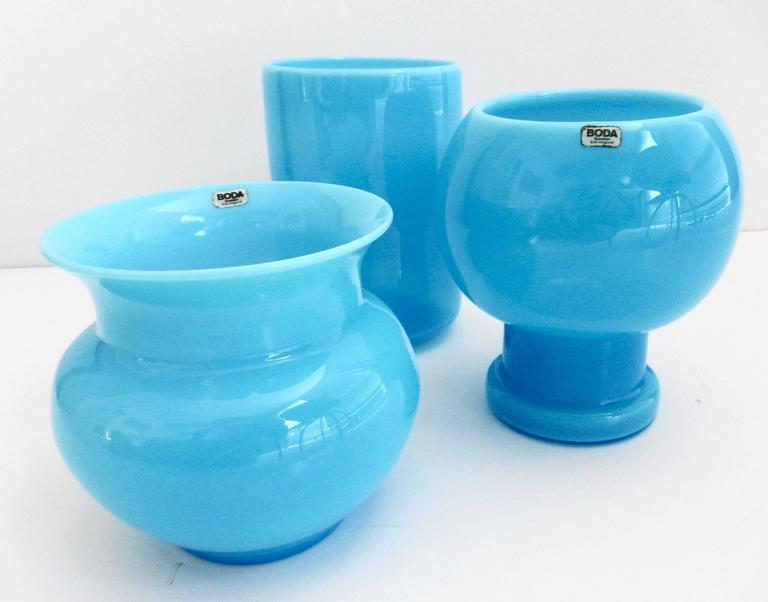 opaque blue glass vases by erik hoglund for sale at 1stdibs