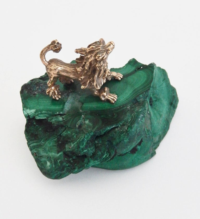 Art Nouveau Early 20th Century Malachite and Gilt Bronze Miniature Animal Sculpture For Sale